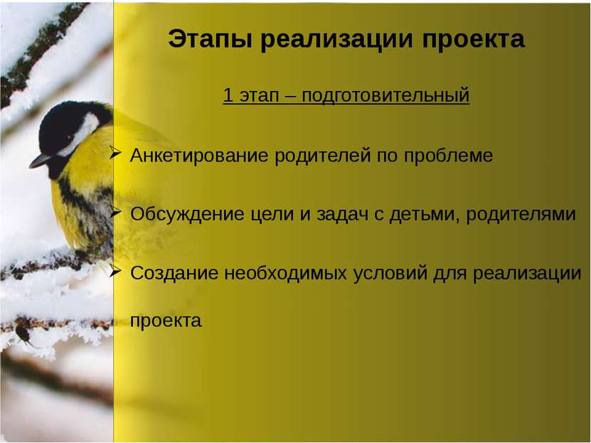 Этапы реализации проекта Анкетирование родителей по проблеме Обсуждение цели ...