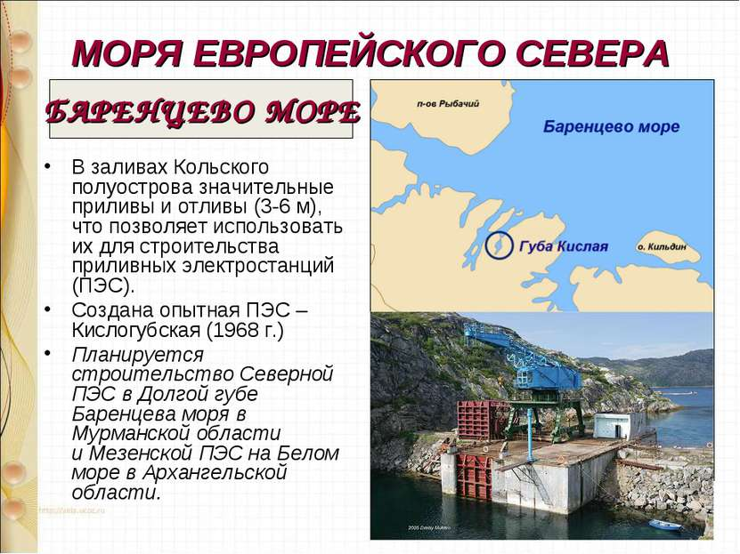МОРЯ ЕВРОПЕЙСКОГО СЕВЕРА В заливах Кольского полуострова значительные приливы...