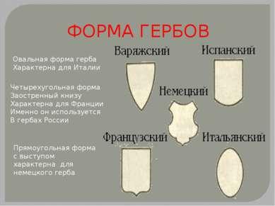 ФОРМА ГЕРБОВ Овальная форма герба Характерна для Италии Четырехугольная форма...