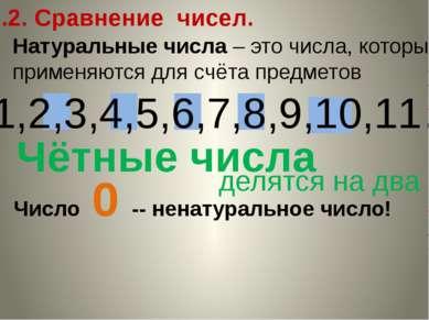 2.2. Сравнение чисел. Натуральные числа – это числа, которые применяются для ...