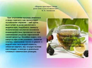 «Широко простирает химия руки свои в дела человеческие» М. В. Ломоносов. При ...