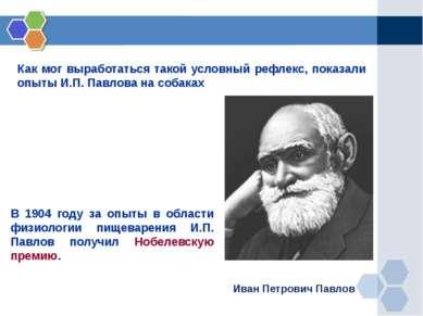 Как мог выработаться такой условный рефлекс, показали опыты И.П. Павлова на с...