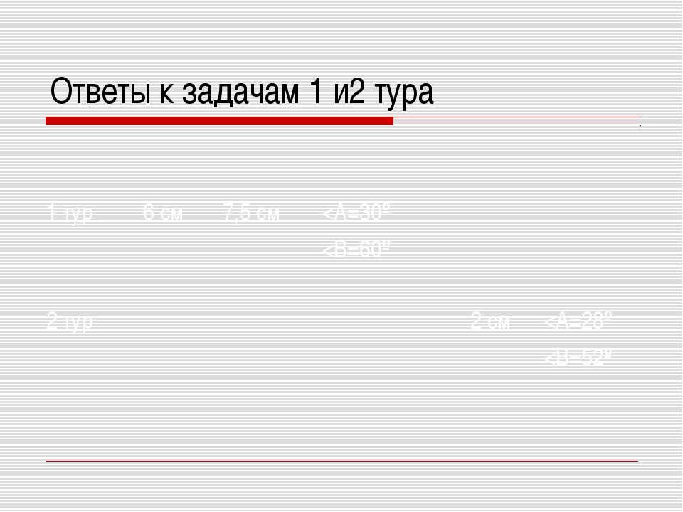 Ответы к задачам 1 и2 тура 1 тур 6 см 7,5 см