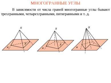 МНОГОГРАННЫЕ УГЛЫ В зависимости от числа граней многогранные углы бывают трех...