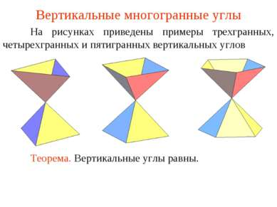 Вертикальные многогранные углы На рисунках приведены примеры трехгранных, чет...