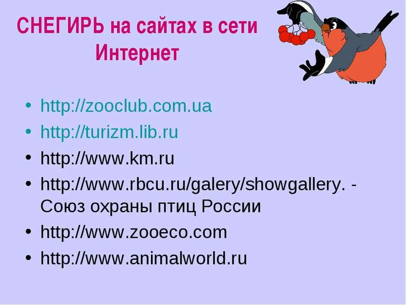 СНЕГИРЬ на сайтах в сети Интернет http://zooclub.com.ua http://turizm.lib.ru ...