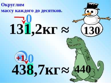 438,7кг 131,2кг ≈ 0 Округлим массу каждого до десятков. ≈ 130 +1 0 440