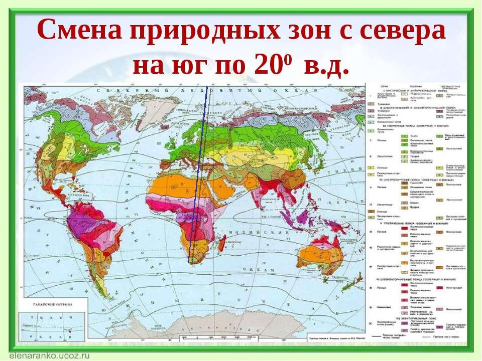 Смена природных зон с севера на юг по 200 в.д.