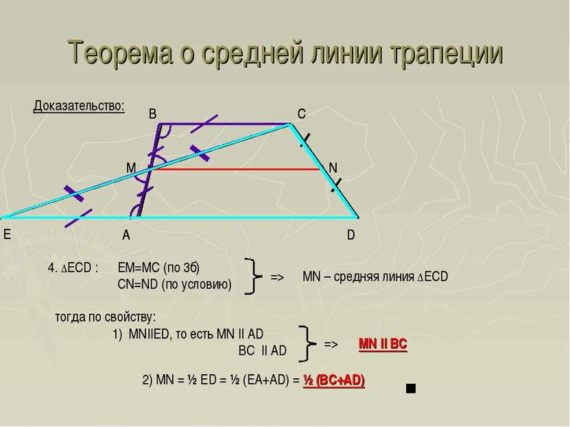 Теорема о средней линии трапеции A D B C Доказательство: Е 4. ΔECD : EM=MC (п...