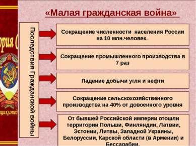 1. « «Малая гражданская война» Сокращение численности населения России на 10 ...