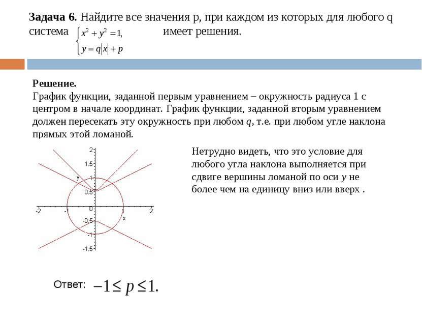 Задача 6. Найдите все значения р, при каждом из которых для любого q система ...