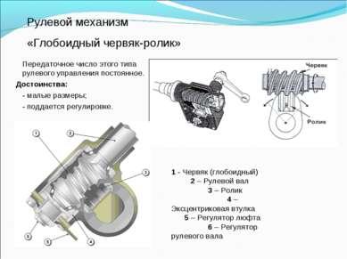 Рулевой механизм «Глобоидный червяк-ролик» Передаточное число этого типа руле...