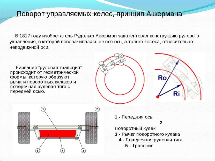 Поворот управляемых колес, принцип Аккермана В 1817 году изобретатель Рудольф...