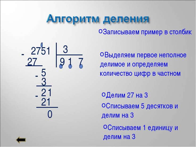 2751 3 Записываем пример в столбик Выделяем первое неполное делимое и определ...