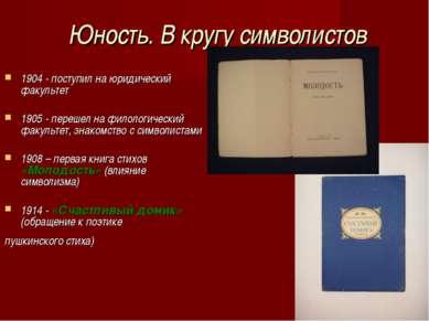 Юность. В кругу символистов 1904 - поступил на юридический факультет 1905 -...