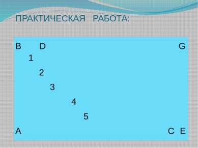 ПРАКТИЧЕСКАЯ РАБОТА: B D G 1 2 3 4 5 A C E