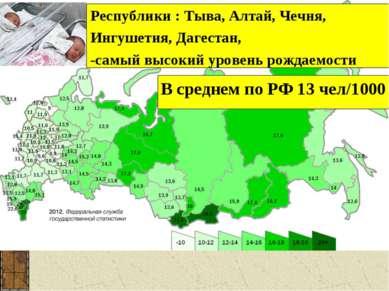 Республики : Тыва, Алтай, Чечня, Ингушетия, Дагестан, -самый высокий уровень ...