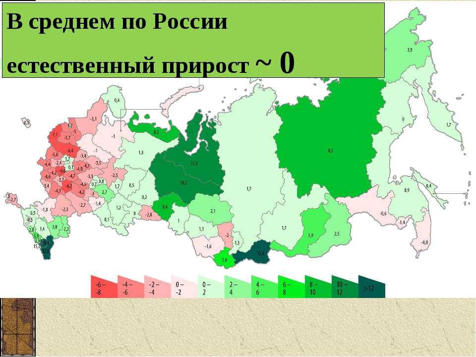 В среднем по России естественный прирост ~ 0