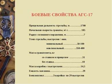 БОЕВЫЕ СВОЙСТВА АГС-17 Прицельная дальность стрельбы, м……….….1700 Начальная с...