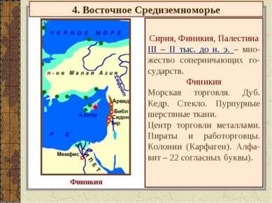 4. Восточное Средиземноморье Сирия, Финикия, Палестина III – II тыс. до н. э....