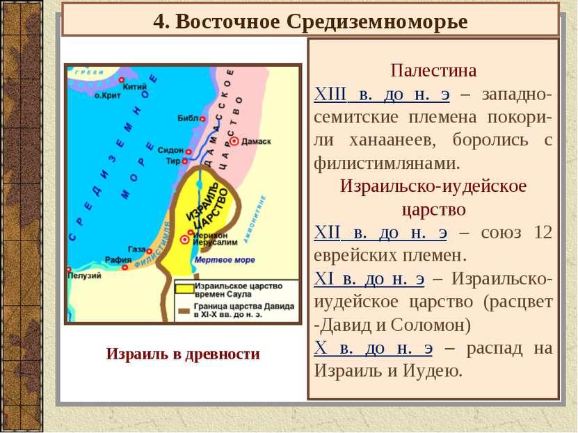 4. Восточное Средиземноморье Палестина XIII в. до н. э – западно-семитские пл...