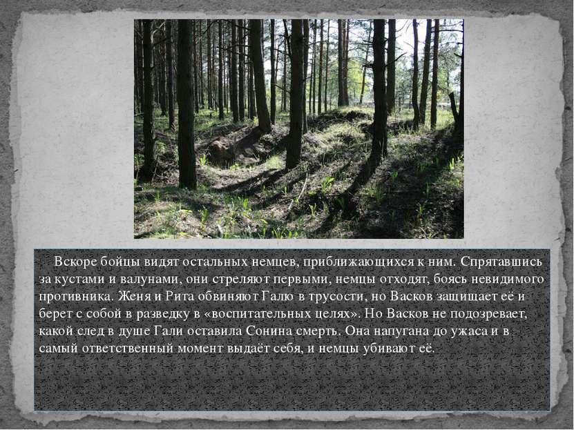 Вскоре бойцы видят остальных немцев, приближающихся к ним. Спрятавшись за кус...