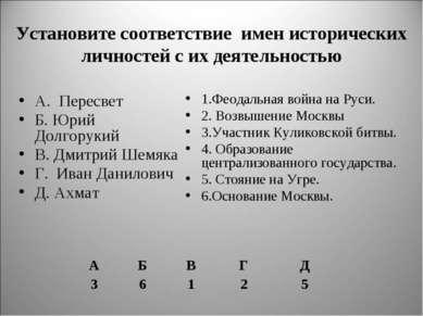 Установите соответствие имен исторических личностей с их деятельностью А. Пер...
