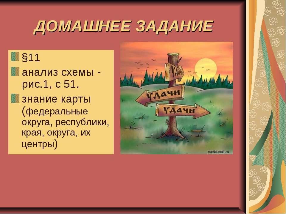 ДОМАШНЕЕ ЗАДАНИЕ §11 анализ схемы - рис.1, с 51. знание карты (федеральные ок...