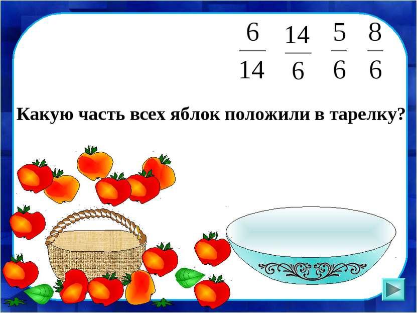Какую часть всех яблок положили в тарелку?