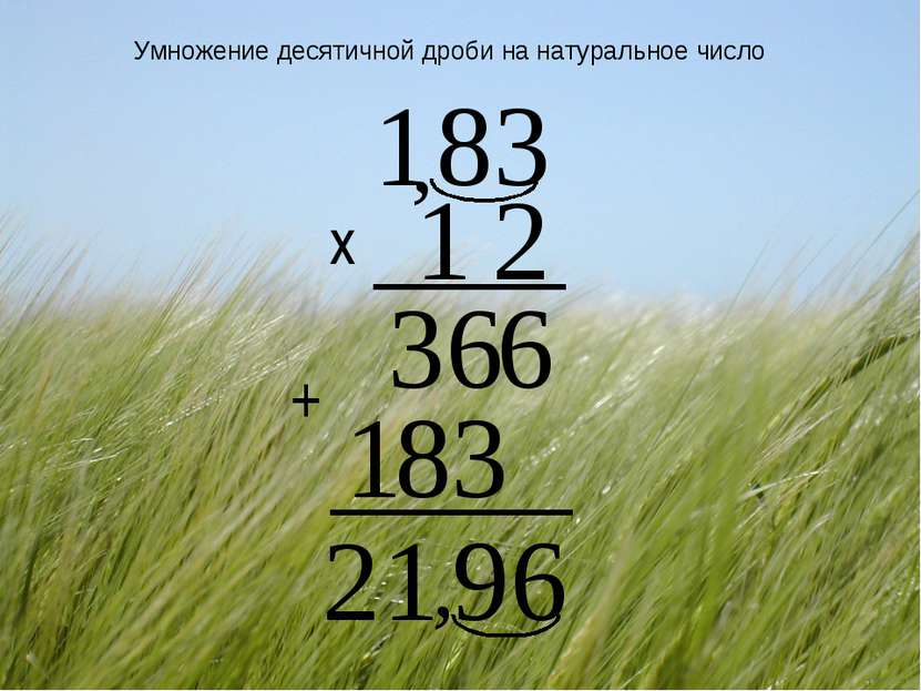 Умножение десятичной дроби на натуральное число х , +