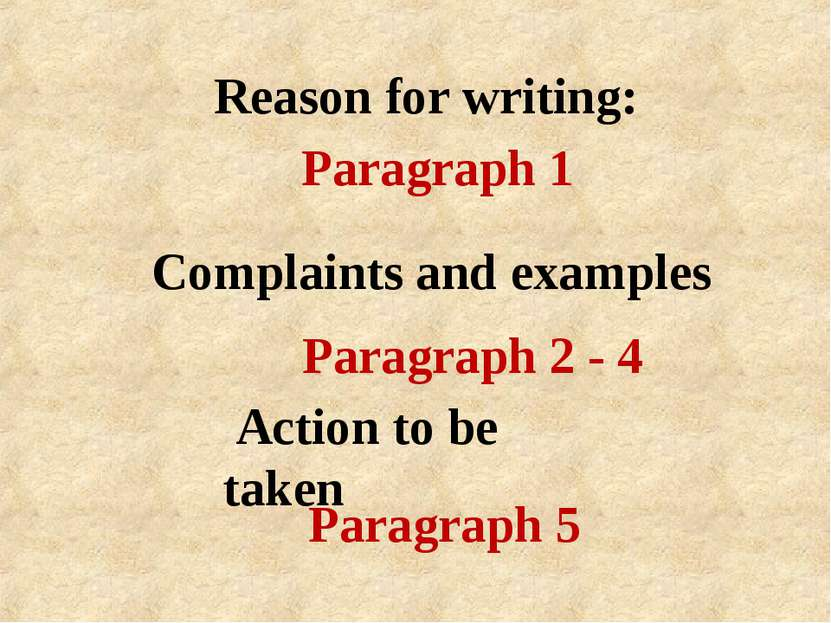 Reason for writing: Action to be taken Complaints and examples Paragraph 1 Pa...