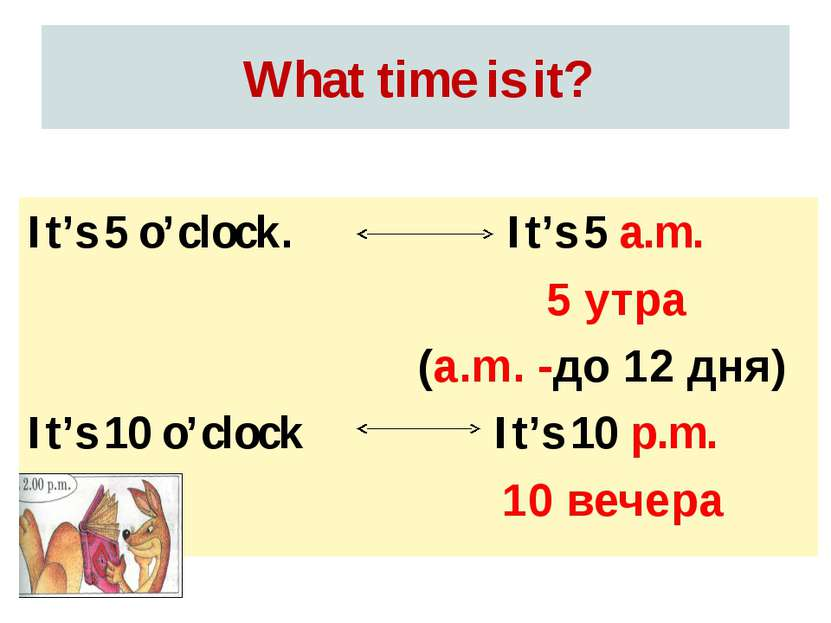 What time is it? It's 5 a.m. 5 утра (a.m. -до 12 дня) It's 10 p.m. 10 вечера ...