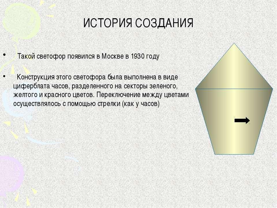 ИСТОРИЯ СОЗДАНИЯ Такой светофор появился в Москве в 1930 году Конструкция это...
