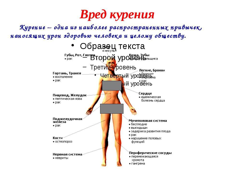 Вред курения Курение – одна из наиболее распространенных привычек, наносящих ...
