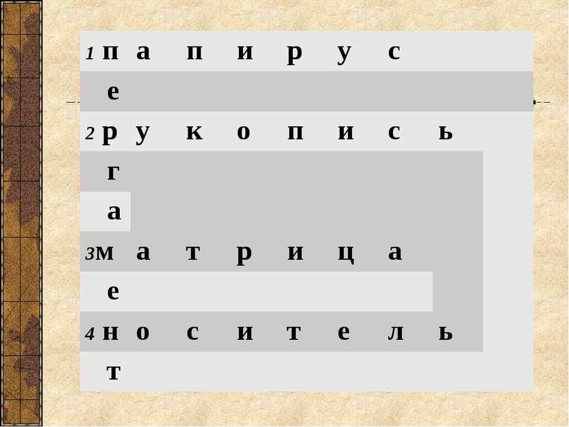 1 п а п и р у с е 2 р у к о п и с ь г а 3м а т р и ц а е 4 н о с и т е л ь т