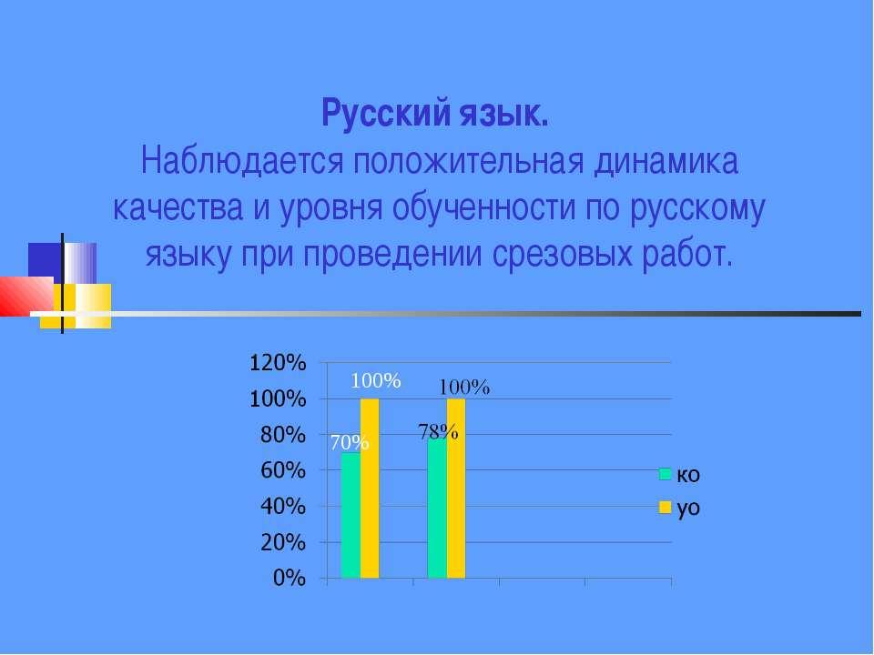 Русский язык. Наблюдается положительная динамика качества и уровня обученност...