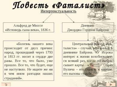 Повесть «Фаталист» Интертекстуальность «Болезнь нашего века происходит от дву...