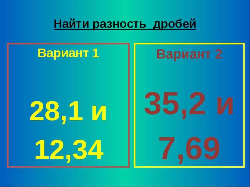 Найти разность дробей Вариант 1 28,1 и 12,34 Вариант 2 35,2 и 7,69
