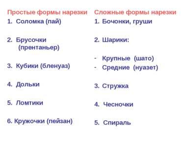 Простые формы нарезки 1. Соломка (пай) 2. Брусочки (прентаньер) 3. Кубики (бл...