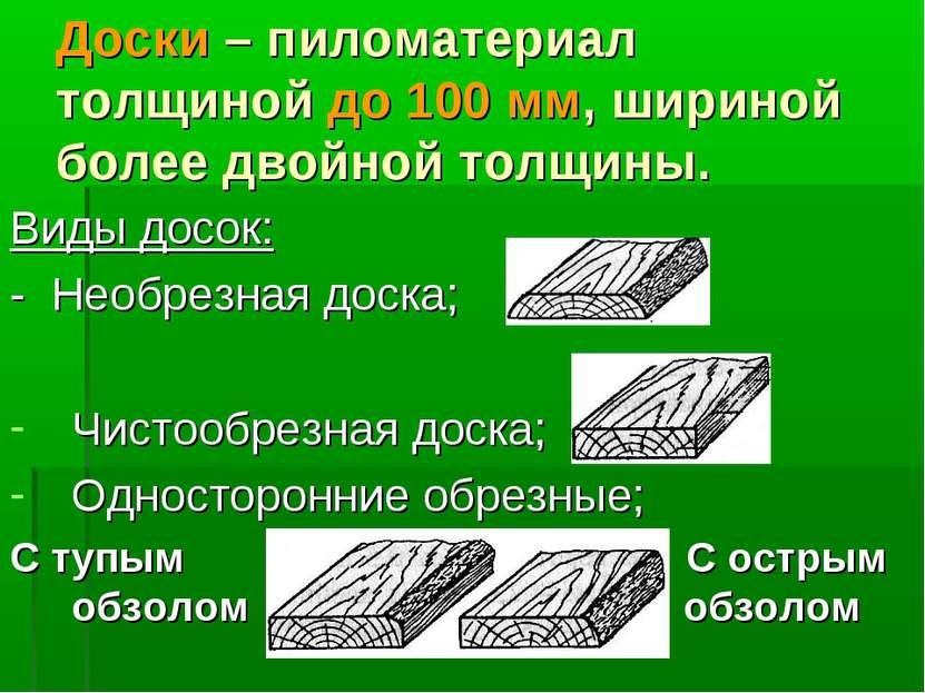 Доски – пиломатериал толщиной до 100 мм, шириной более двойной толщины. Виды ...