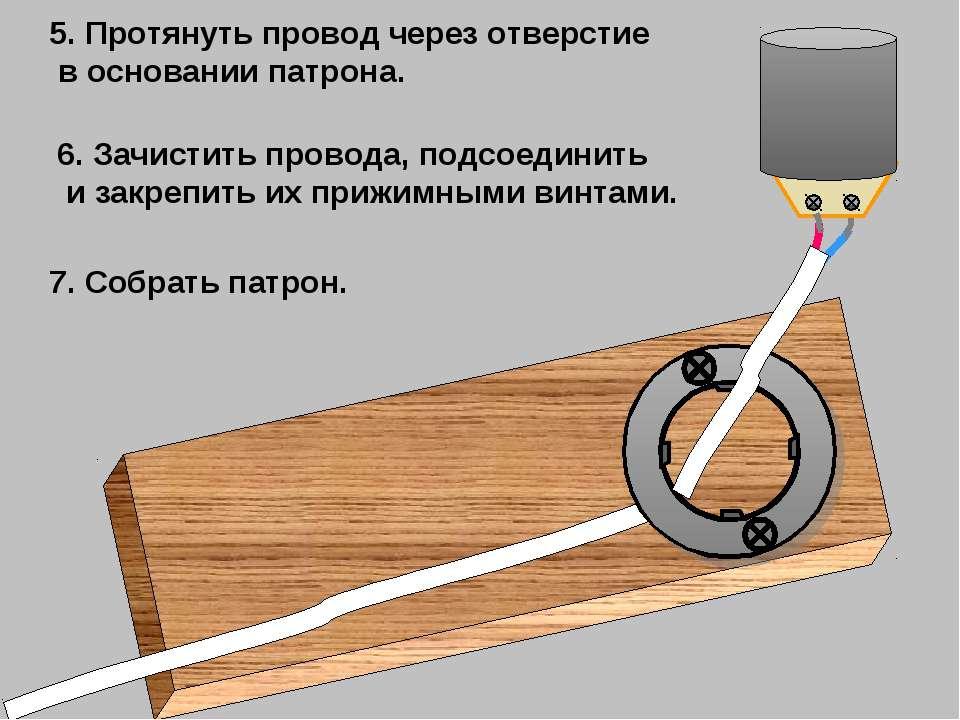 5. Протянуть провод через отверстие в основании патрона. 6. Зачистить провода...