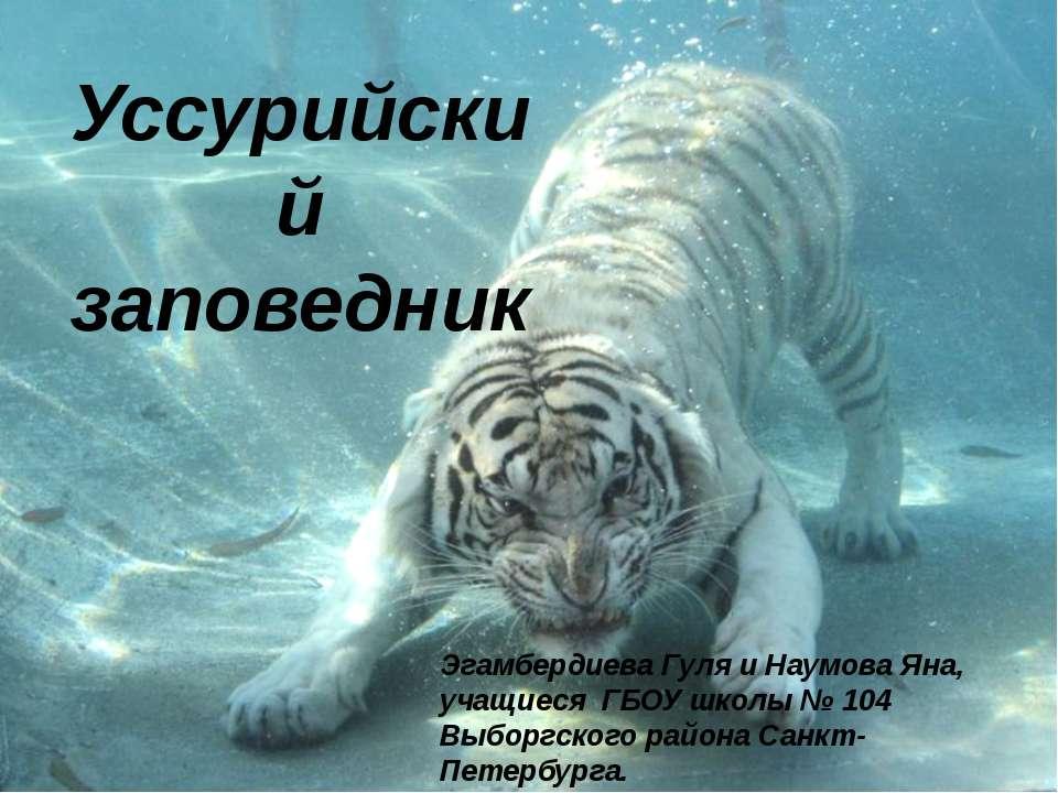 Уссурийский заповедник Эгамбердиева Гуля и Наумова Яна, учащиеся ГБОУ школы №...