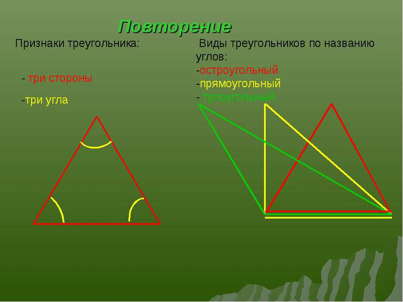 Повторение Виды треугольников по названию углов: -остроугольный -прямоугольны...