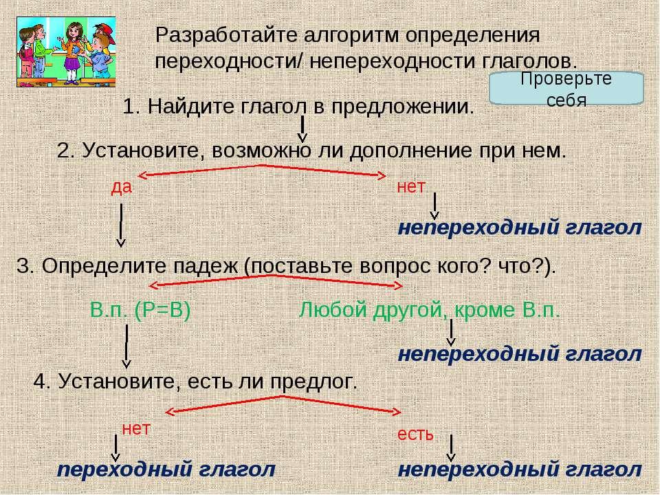 Разработайте алгоритм определения переходности/ непереходности глаголов. Пров...