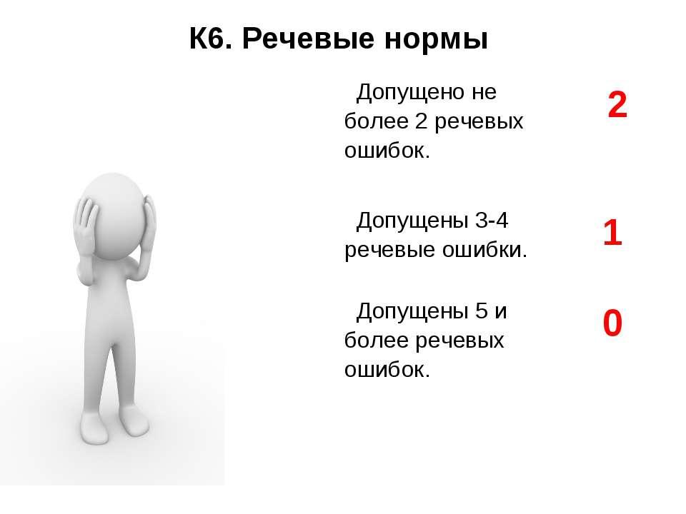 К6. Речевые нормы Допущено не более 2 речевых ошибок. 2 Допущены 3-4 речевые...