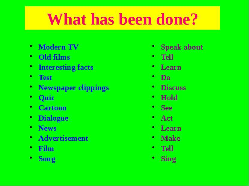 What has been done? Modern TV Old films Interesting facts Test Newspaper clip...