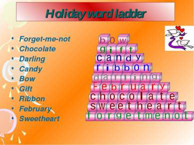 Holiday word ladder Forget-me-not Chocolate Darling Candy Bow Gift Ribbon Feb...