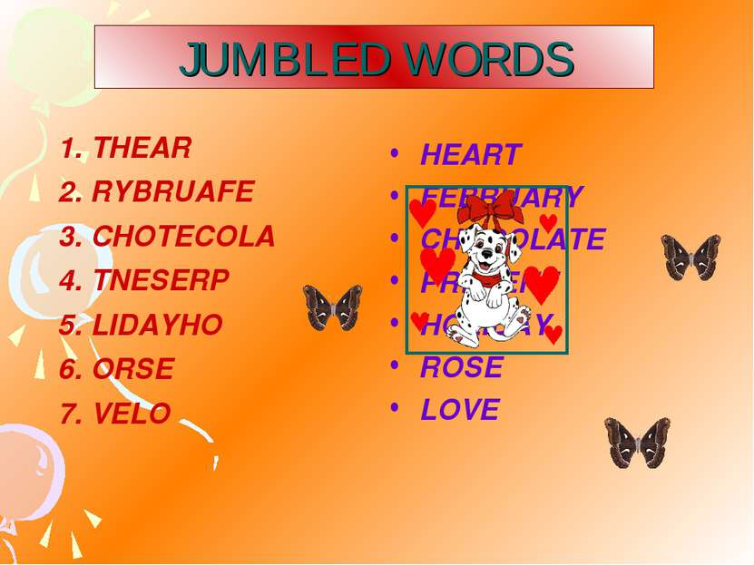 JUMBLED WORDS HEART FEBRUARY CHOCOLATE PRESENT HOLIDAY ROSE LOVE