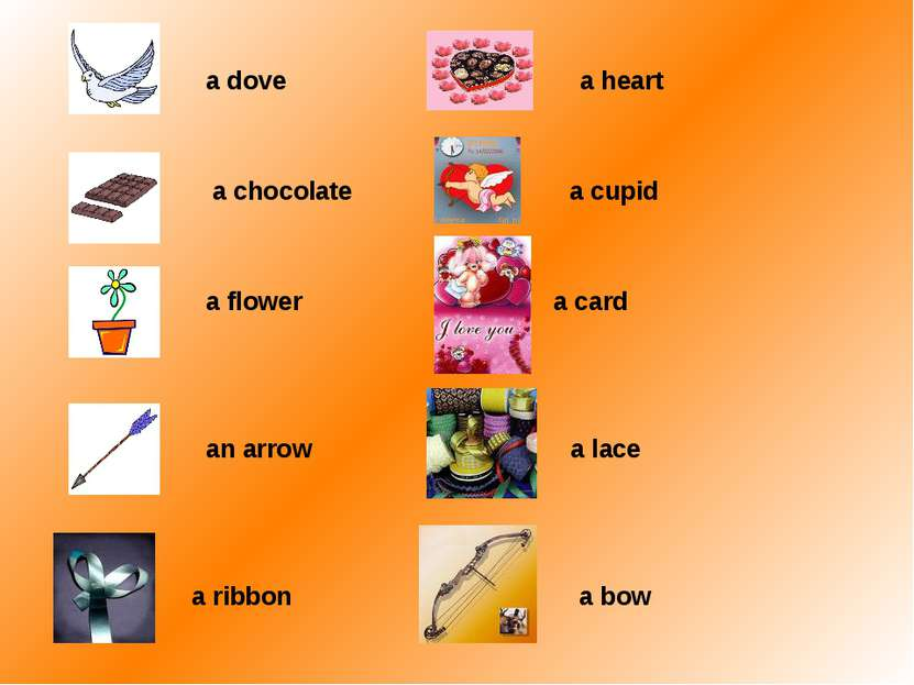 a dove a heart a chocolate a cupid a flower a card an arrow a lace a ribbon a...