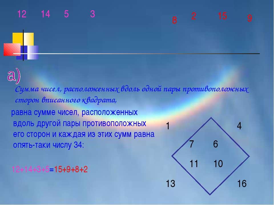 равна сумме чисел, расположенных вдоль другой пары противоположных его сторон...